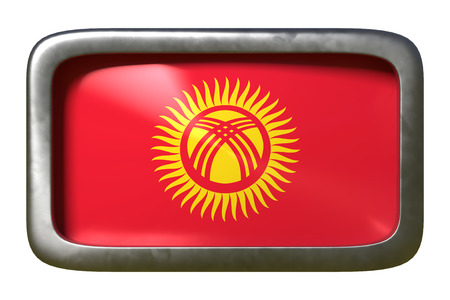 3d rendering of a Kyrgyzstan flag on a rusty sign isolated on white background