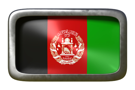 3d rendering of an Afghanistan flag on a rusty sign isolated on white background