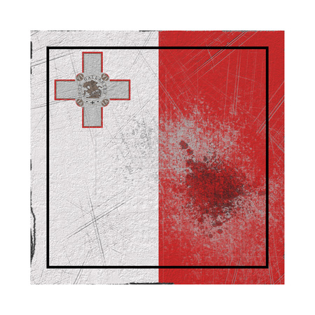 3d rendering of a Malta country flag on a rusty surface