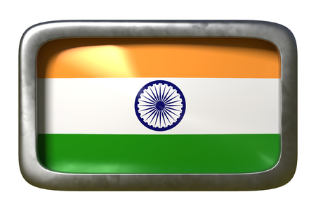 3d rendering of an India flag on a rusty sign isolated on white background