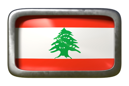 3d rendering of a Lebanon flag on a rusty sign isolated on white background