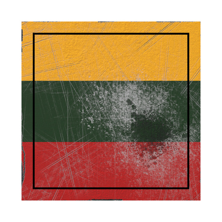 3d rendering of a Lithuania country flag on a rusty surface