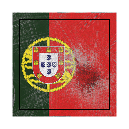 3d rendering of a Portugal country flag on a rusty surface