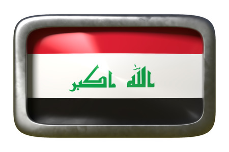 3d rendering of an Iraq flag on a rusty sign isolated on white background