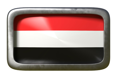 3d rendering of a Yemen flag on a rusty sign isolated on white background