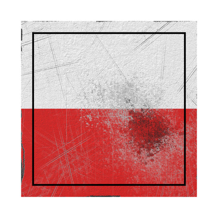 3d rendering of a Poland country flag on a rusty surface Banco de Imagens