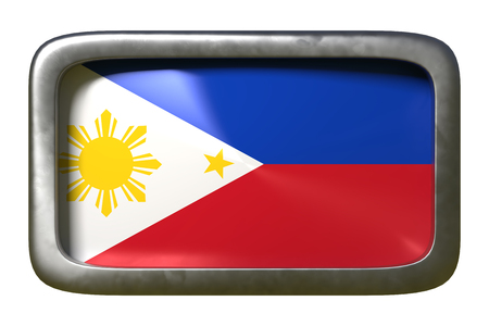 3d rendering of a Philippines flag on a rusty sign isolated on white background