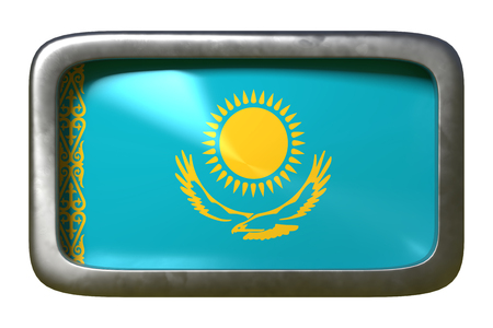 3d rendering of a Kazakhstan flag on a rusty sign isolated on white background
