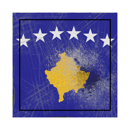 3d rendering of a Kosovo country flag on a rusty surface Banco de Imagens