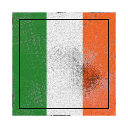 3d rendering of an Ireland country flag on a rusty surface