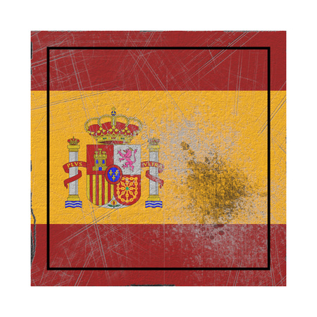 3d rendering of a Spain country flag on a rusty surface