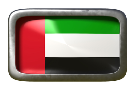 3d rendering of an United Arab Emirates flag on a rusty sign isolated on white background
