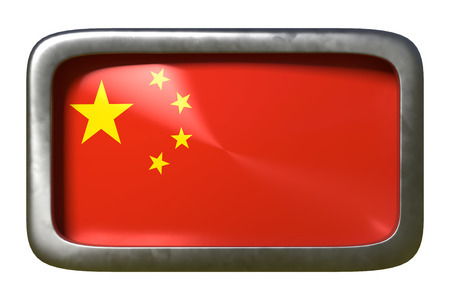 3d rendering of a China flag on a rusty sign isolated on white background