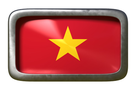 3d rendering of a Vietnam flag on a rusty sign isolated on white background