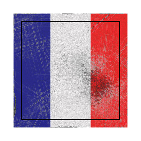 3d rendering of a France country flag on a rusty surface Banco de Imagens
