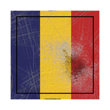 3d rendering of a Romania country flag on a rusty surface