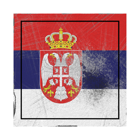 3d rendering of a Serbia country flag on a rusty surface