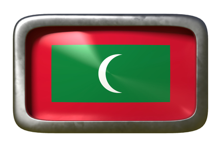 3d rendering of a Maldives flag on a rusty sign isolated on white background Stock Photo