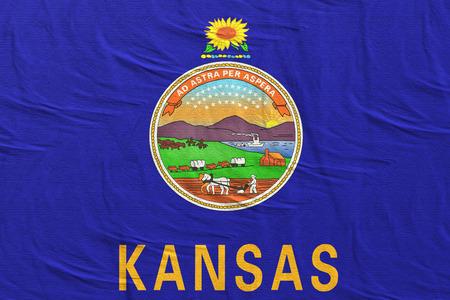 3d rendering of a Kansas State flag silk