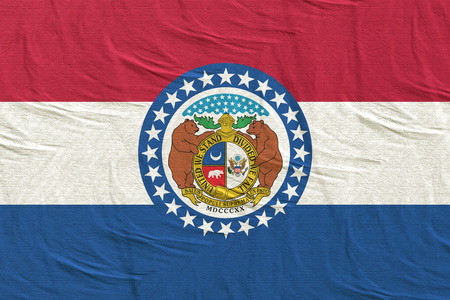 3d rendering of a Missouri State flag silk Stock Photo