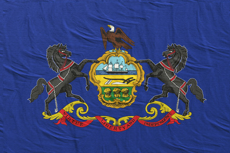 3d rendering of a Pennsylvania State flag silk
