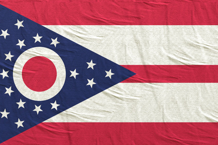 3d rendering of an Ohio State flag silk