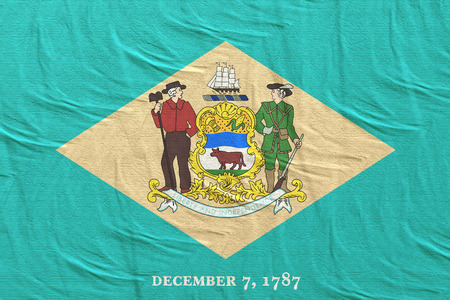 3d rendering of a Delaware State flag silk