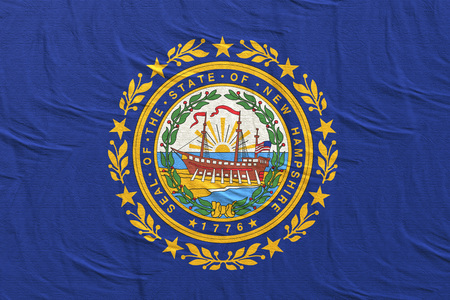 3d rendering of a New Hampshire State flag silk