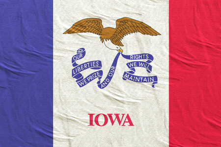 3d rendering of an Iowa State flag silk Stock Photo