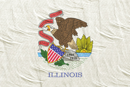 3d rendering of an Illinois State flag silk