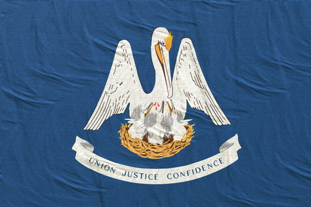 3d rendering of a Louisiana State flag silk