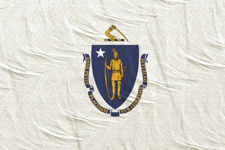 3d rendering of a Massachusetts State flag silk