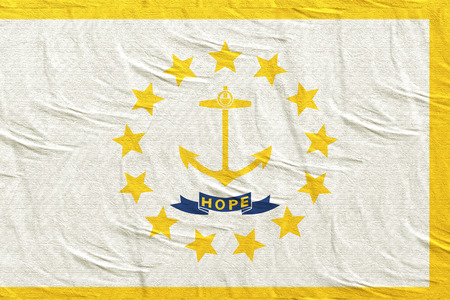3d rendering of a Rhode Island State flag silk Stock Photo