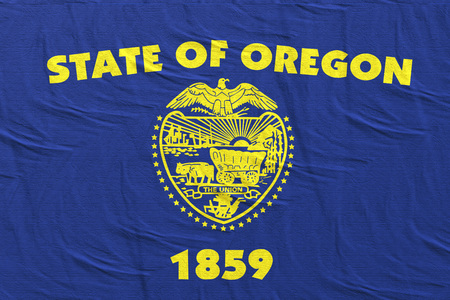3d rendering of an Oregon State flag silk