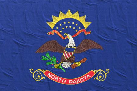 3d rendering of a North Dakota State flag silk