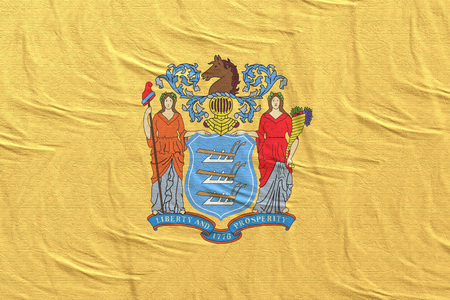 3d rendering of a New Jersey State flag silk