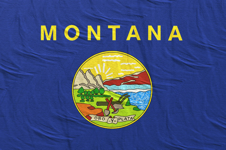 3d rendering of a Montana State flag silk