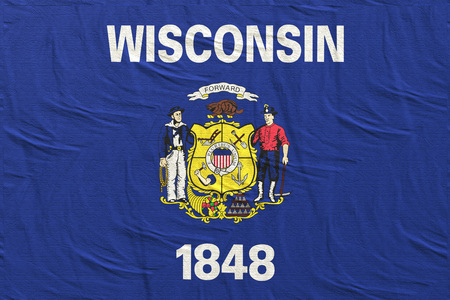 3d rendering of a Wisconsin State flag silk Stock Photo