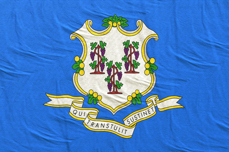 3d rendering of a Connecticut State flag silk