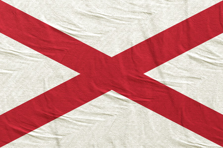 3d rendering of an Alabama State flag silk
