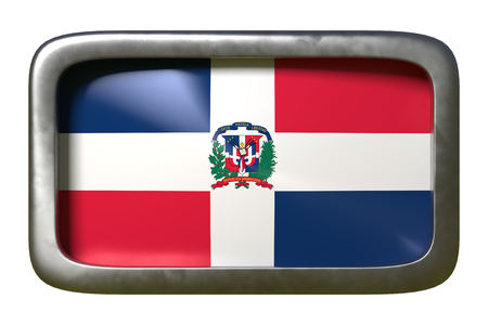 3d rendering of a Dominican Republic flag on a rusty sign isolated on white background