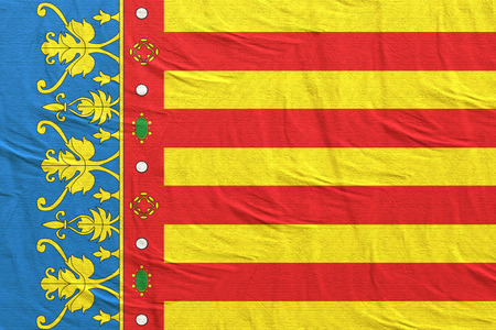 3d rendering of a Spanish Valencian Community flag silk