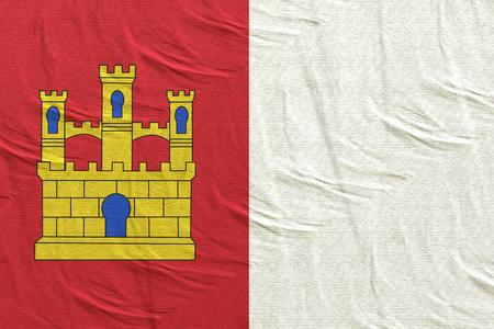 3d rendering of a Spanish Castilla La Mancha community flag silk