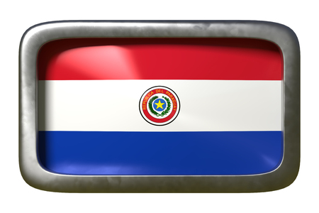 3d rendering of a Paraguay flag on a rusty sign isolated on white background