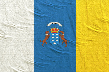 3d rendering of a Spanish Canary islands community flag silk