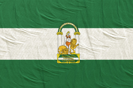 3d rendering of a Spanish Andalucia community flag silk