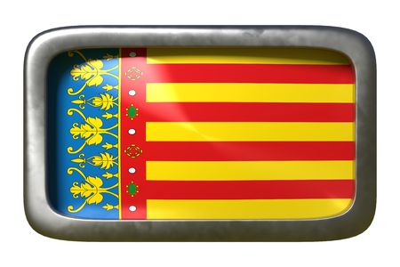 3d rendering of a Valencian spanish community flag on a rusty sign isolated on white background 写真素材
