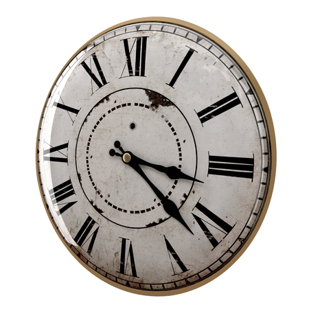 3d rendering of a vintage clock on white background Stock fotó