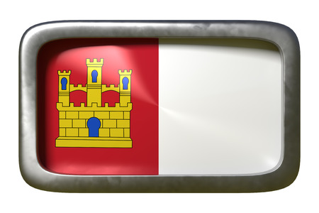3d rendering of a Castilla La Mancha spanish community flag on a rusty sign isolated on white background