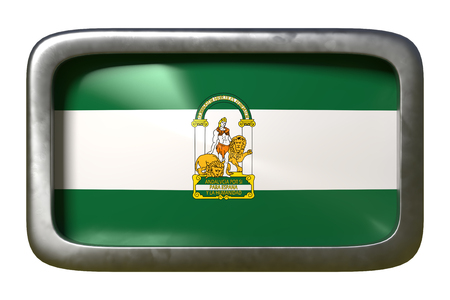 3d rendering of an Andalucia spanish community flag on a rusty sign isolated on white background